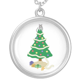 Naughty Christmas Tree Kitty Cat Silver Plated Necklace