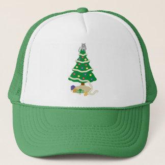 Naughty Christmas Tree Kitty Cat Trucker Hat