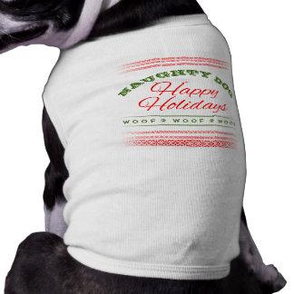 Naughty Dog - Happy Holidays Red Green Doggie T Doggie Tee
