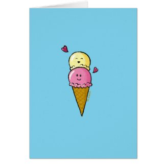 Naughty double-scoop ice cream cone card