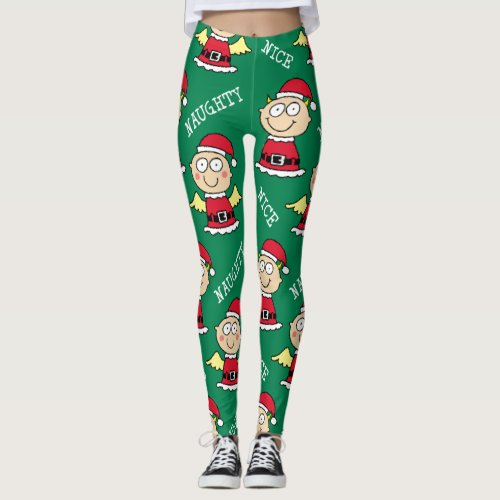 Naughty Elf Nice Elf Pattern Leggings