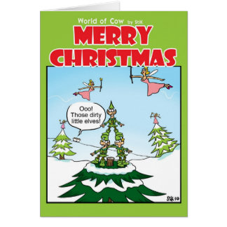 Naughty Elves Greeting Card