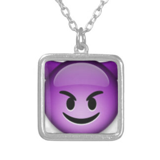 Naughty Emoji face Silver Plated Necklace