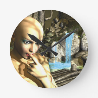 Naughty Fairy Round Clock