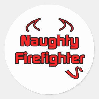 Naughty Firefighter Classic Round Sticker