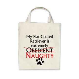 Naughty Flat-Coated Retriever Canvas Bags