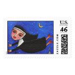 Naughty Flying Nun in her Red Heels - Postage Stam