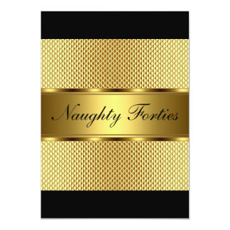 Naughty Forties Gold Birthday Party 2 Card