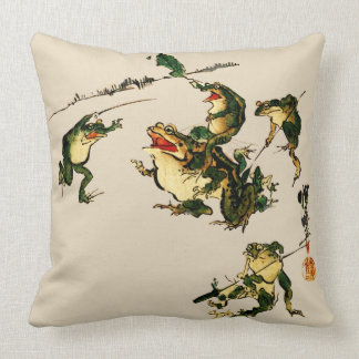 Naughty Frogs Throw Pillow