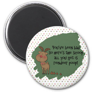 Naughty Funny Christmas Reindeer Poop Gift Saying 2 Inch Round Magnet
