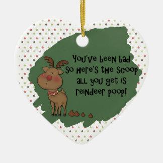 Naughty Funny Christmas Reindeer Poop Gift Saying Ceramic Ornament