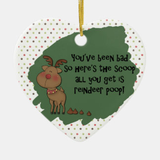 Naughty Funny Christmas Reindeer Poop Gift Saying Double-Sided Heart Ceramic Christmas Ornament