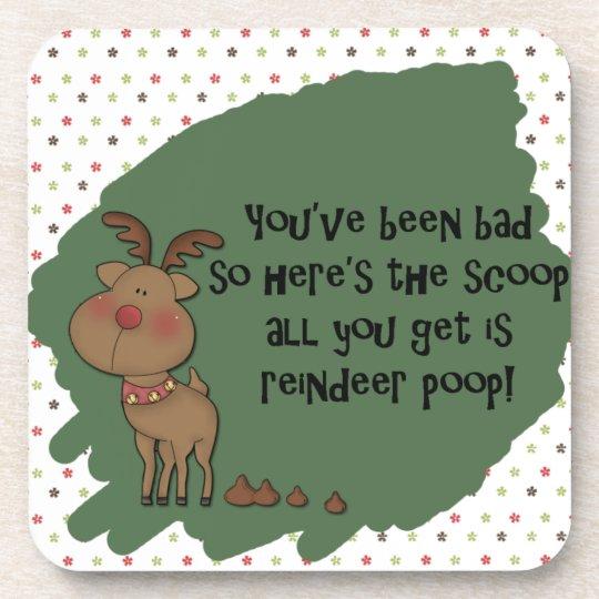 Naughty Funny Christmas Reindeer Poop Gift Saying Drink Coaster
