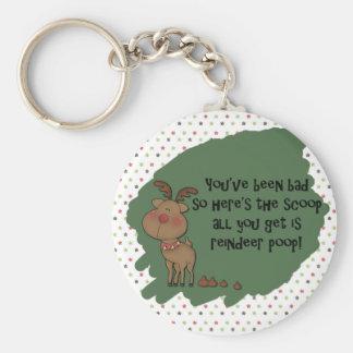 Naughty Funny Christmas Reindeer Poop Gift Saying Keychain