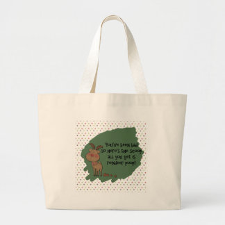 Naughty Funny Christmas Reindeer Poop Gift Saying Large Tote Bag