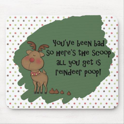 Naughty Funny Christmas Reindeer Poop Gift Saying Mouse Pad