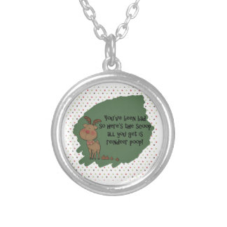 Naughty Funny Christmas Reindeer Poop Gift Saying Round Pendant Necklace