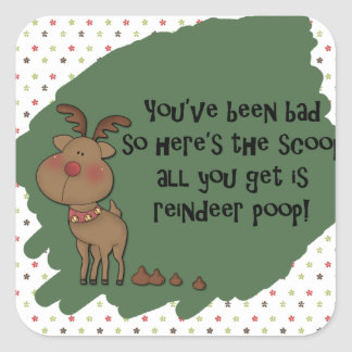 Naughty Funny Christmas Reindeer Poop Gift Saying Square Sticker