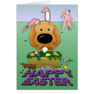Naughty Golden Happy Easter Card