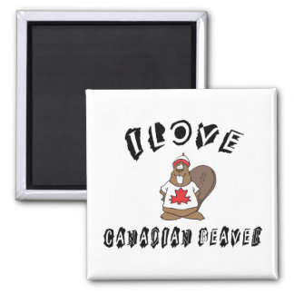 Naughty I Love Canadian Beaver 2 Inch Square Magnet