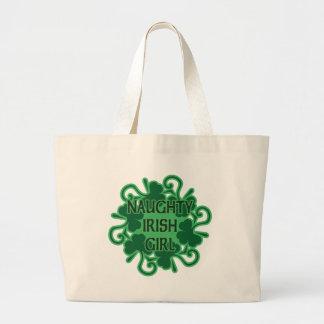 Naughty Irish Girl Shamrocks Large Tote Bag