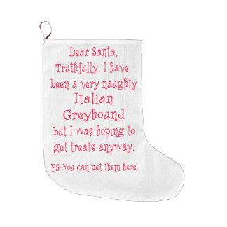Naughty Italian Greyhound Large Christmas Stocking