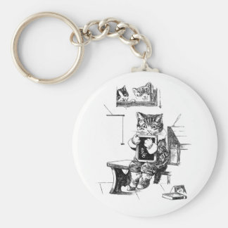 Naughty Kitten Kept In to Do Sums Keychain