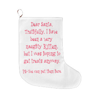 Naughty Kitten Large Christmas Stocking