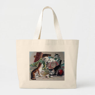 naughty kittens cats playing with yarn antique art bag