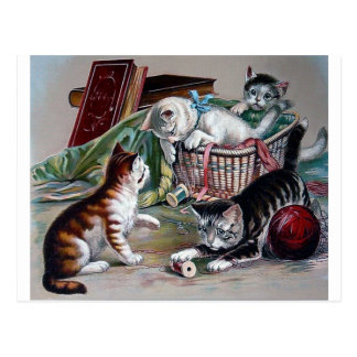 naughty kittens cats playing with yarn antique art postcard