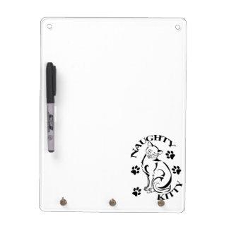 Naughty Kitty 3 Hook Dry Erase Board