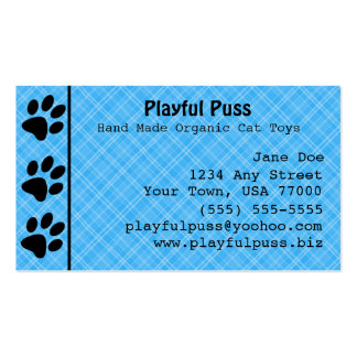 Naughty Kitty Blue Business Card