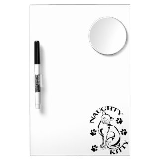 Naughty Kitty Dry Erase Board W/Mirror
