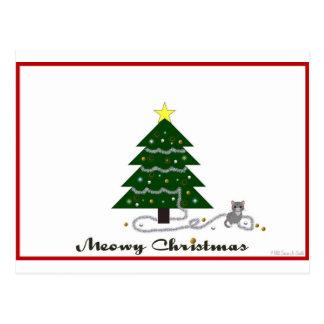 Naughty Kitty Meowy Christmas Postcard