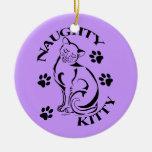 Naughty Kitty Round Ornament