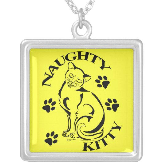 Naughty Kitty W/Text Square Necklace