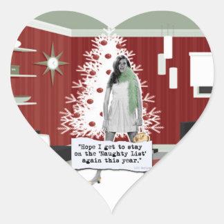 Naughty List Heart Sticker