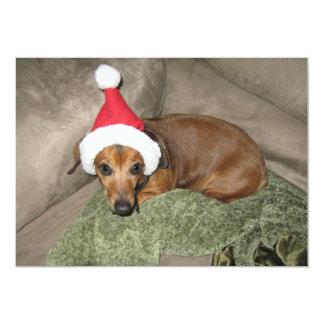 Naughty list - Reluctant Santa Dachshund Card