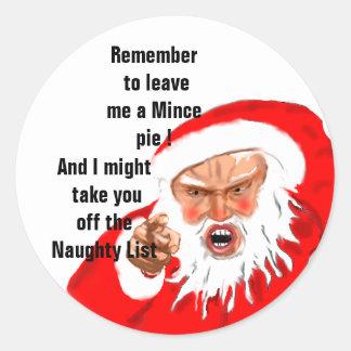 naughty list, classic round sticker