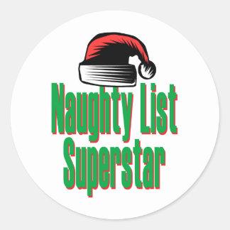 Naughty List Superstar Classic Round Sticker