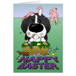 Naughty Newfie (Landseer) Happy Easter Card
