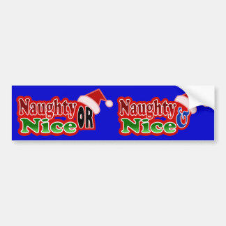 Naughty Nice Christmas Text Design Car Bumper Sticker