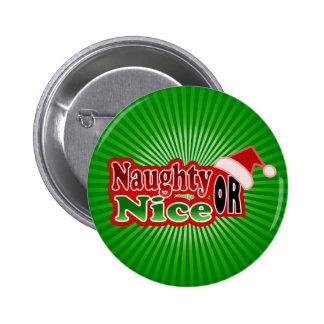 Naughty Nice Christmas Text Design Pinback Button