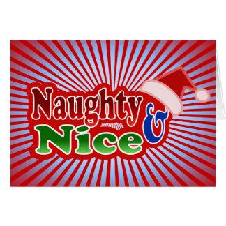 Naughty Nice Christmas Text Design Greeting Card