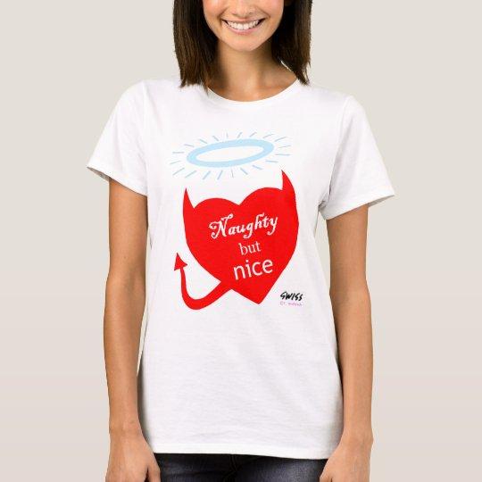Naughty Nice Heart w Red Devil Horns & Angel Halo T-Shirt
