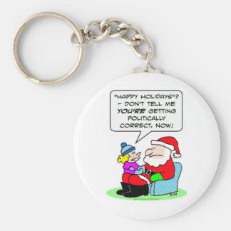 naughty nice politically correct santa claus keychain