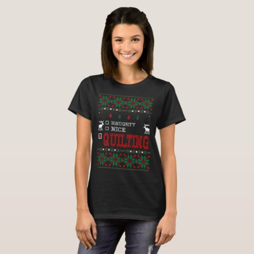 Naughty Nice Quilting Christmas Ugly Sweater Shirt After Christmas Sales 5130