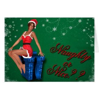 naughty or nice1 greeting card