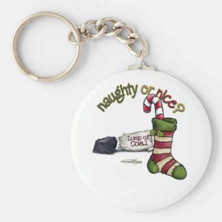 Naughty or Nice Basic Round Button Keychain
