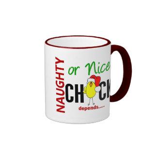 Naughty or Nice Chick (Santa Hat) Coffee Mugs